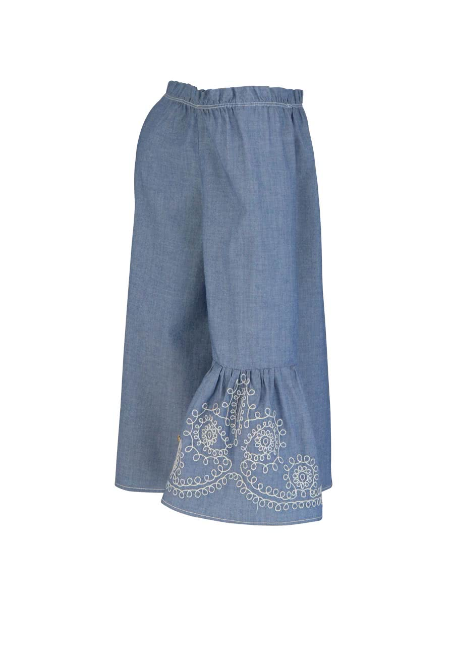 3/4 Arm Bluse PENELOPE CHAMBRAY Off Shoulder mittelblau Mos Mosh