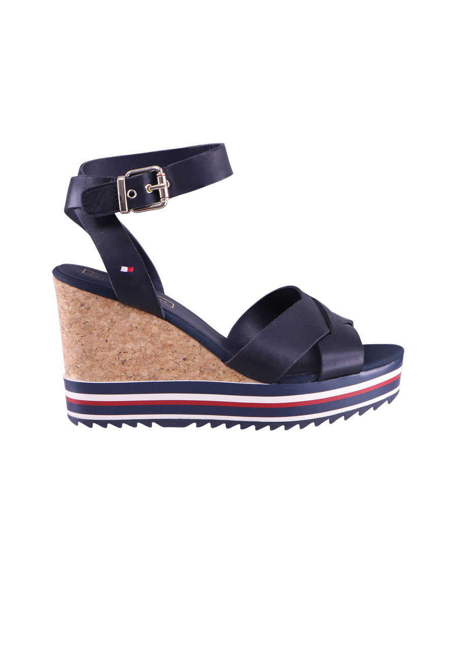 TOMMY HILFIGER Wedges COLORED STRIPES Riemen Keilabsatz Kork nachtblau