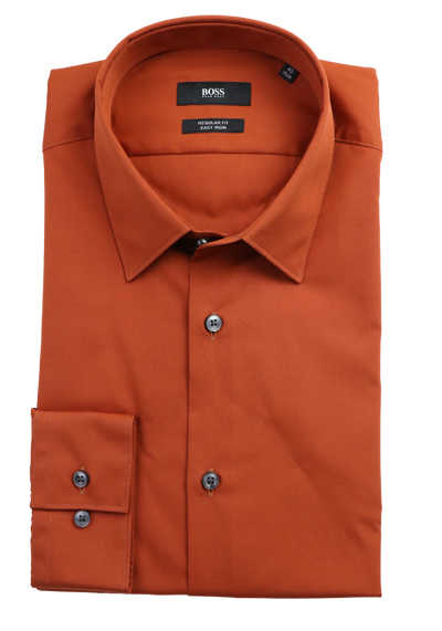 BOSS Regular Fit Hemd ELIOTT extra langer Arm geknöpft terracotta