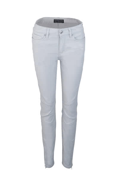 DRYKORN Skinny Fit Hose STRICT Cropped Ziernähte hellgrau