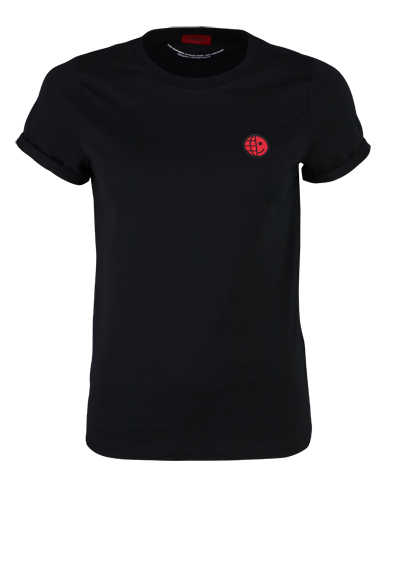 HUGO Kurzarm T-Shirt THE SLIM TEE 2 Rundhals Umschlag Smiley schwarz
