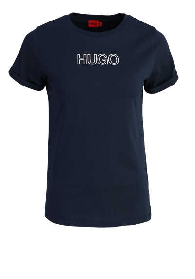 HUGO Kurzarm T-Shirt THE SLIM TEE 6 Rundhals Logo-Print navy