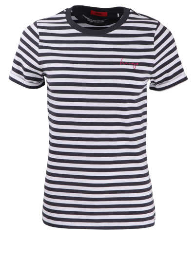 HUGO Kurzarm T-Shirt THE SLIM TEE10 Rundhals Ringel navy/weiß