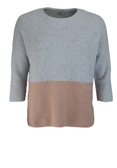 ONLY 3/4 Arm Pullover Rundhals Bicolor grau/rosa