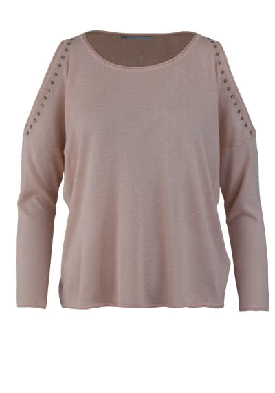 ONLY 3/4 Arm Pullover Rundhals Cut Out Nieten rosa