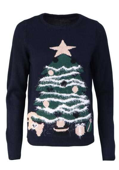 ONLY Langarm Pullover Rundhals Christmas Tree Strick dunkelblau