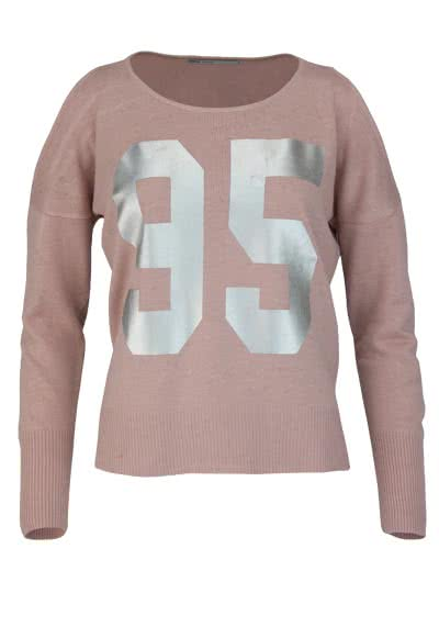 ONLY Langarm Pullover Rundhals Cut Out metallic Print rosa