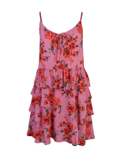 REPLAY ohne Arm Kleid Rundhals Volant Muster rosa