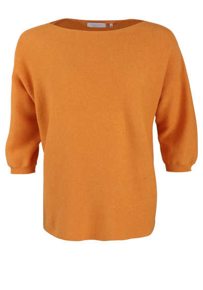 RICH&ROYAL 3/4-Arm Pullover U-Boot Kragen Lurexfäden orange