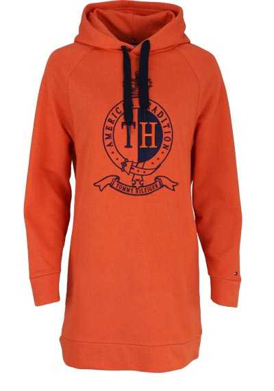TOMMY HILFIGER Langarm Long-Hoodie CANSU Kapuze Applikation orange