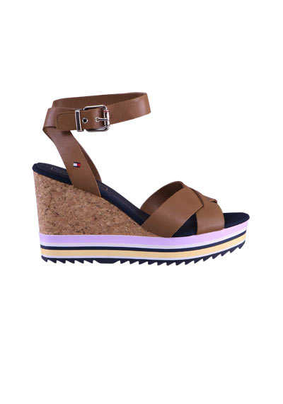 TOMMY HILFIGER Wedges COLORED STRIPES Riemen Keilabsatz Kork camel
