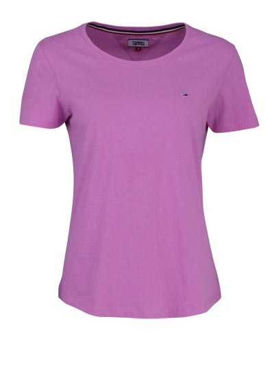 TOMMY JEANS Kurzarm T-Shirt Rundhals Logo-Detail rosa