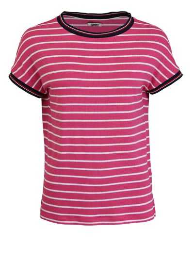 TOMMY JEANS Kurzarm T-Shirt Rundhals Loose Fit  Ringeln rosa