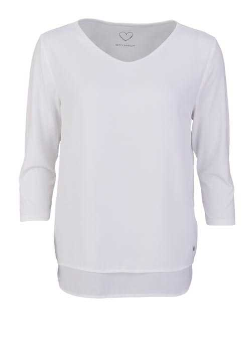 BETTY BARCLAY 3/4 Arm Blusenshirt Rundhals 2-lagig Uni ecru