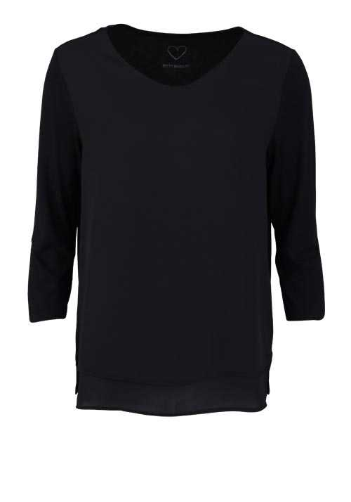 BETTY BARCLAY 3/4 Arm Blusenshirt Rundhals 2-lagig Uni schwarz