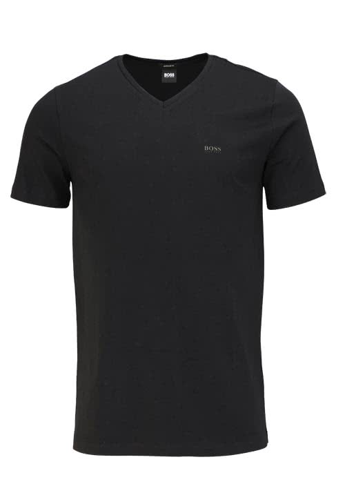 BOSS BUSINESS Regular Fit Kurzarm T-Shirt CANISTRO V-Ausschnitt schwarz