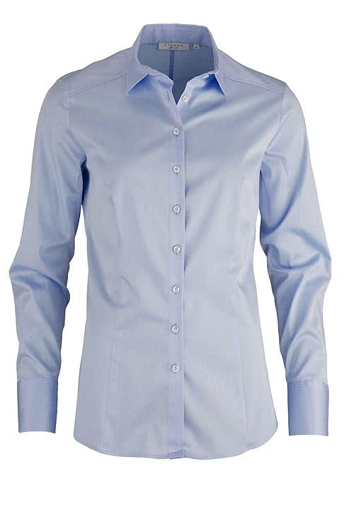 ETERNA Slim Fit Bluse Langarm Stretch hellblau