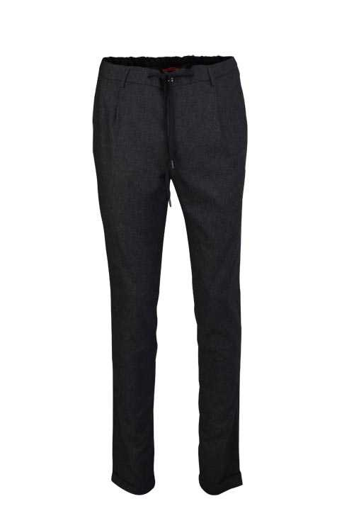 ALBERTO Regular Slim Fit Hose Gummibund Tunnelzug anthrazit