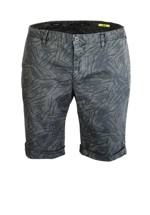 ALBERTO Slim Fit Short ROB-K Allover Druck Muster oliv