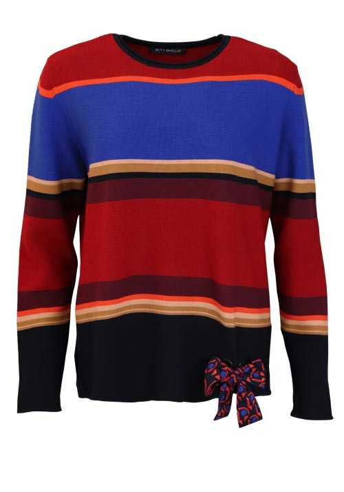 BETTY BARCLAY Langarm Pullover Rundhals Strick Ringel rot