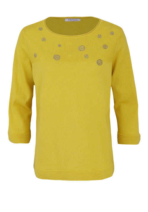 BETTY BARCLAY 3/4 Arm Pullover Rundhals Feinstrick lemon