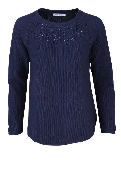 BETTY BARCLAY Langarm Pullover Rundhals Strass Strick nachtblau