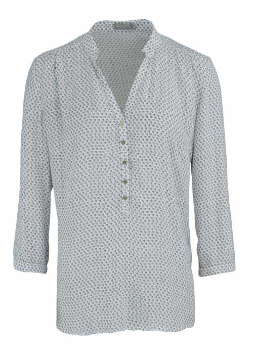 Mode-schoedlbauer.de BETTY & CO 3/4 Arm Bluse Allover Druck weiß/dunkelgrau/rosa/blau