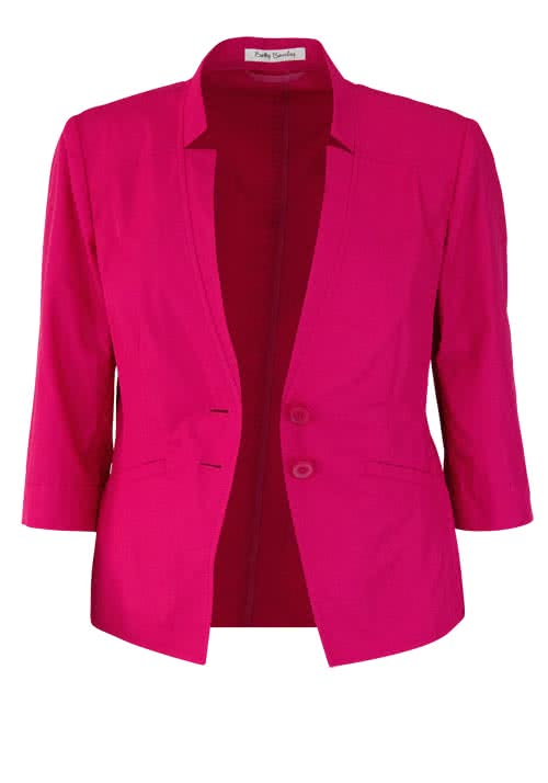 BETTY BARCLAY 3/4 Arm Blazer V-Ausschnitt geknöpft hibiskus