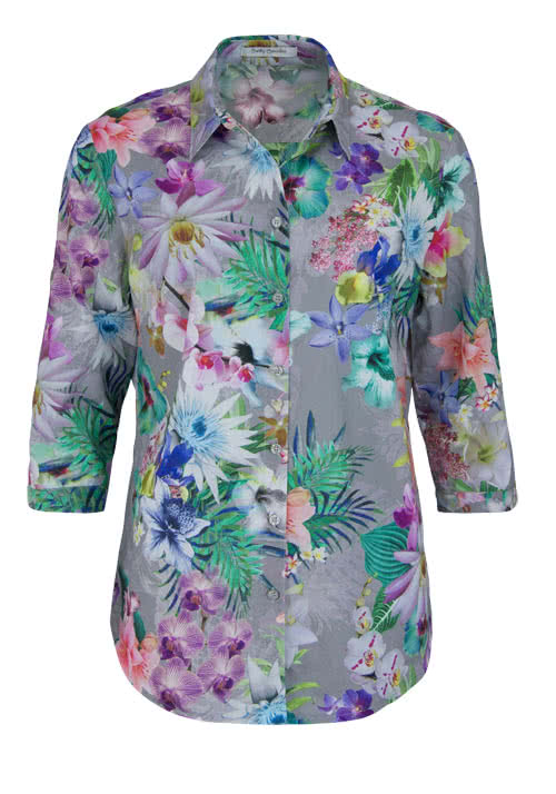 BETTY BARCLAY 3/4 Arm Bluse Hemdkragen Allover Druck Floral Multicolor