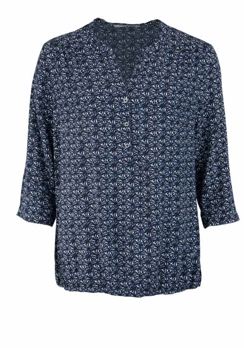 BETTY BARCLAY 3/4 Arm Bluse Loose Fit Allover Druck nachtblau/weiß