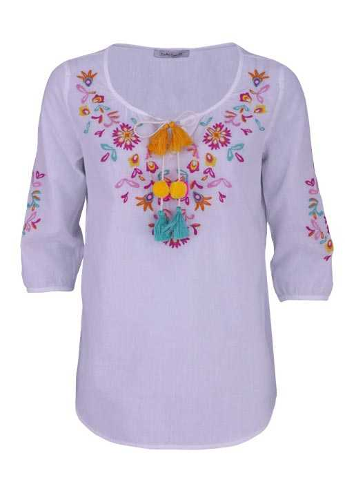 BETTY BARCLAY 3/4 Arm Bluse Rundhals Stickerei Quasten ecru