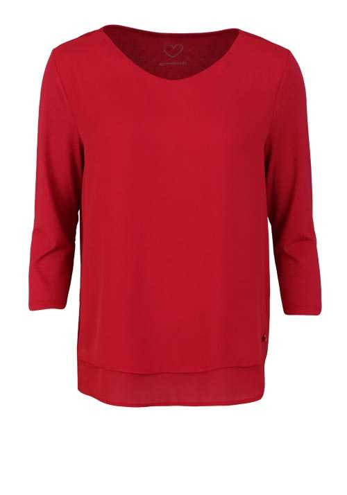 BETTY BARCLAY 3/4 Arm Blusenshirt Rundhals 2-lagig Uni dunkelrot
