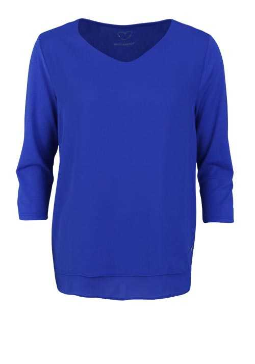 BETTY BARCLAY 3/4 Arm Blusenshirt Rundhals 2-lagig Uni royalblau