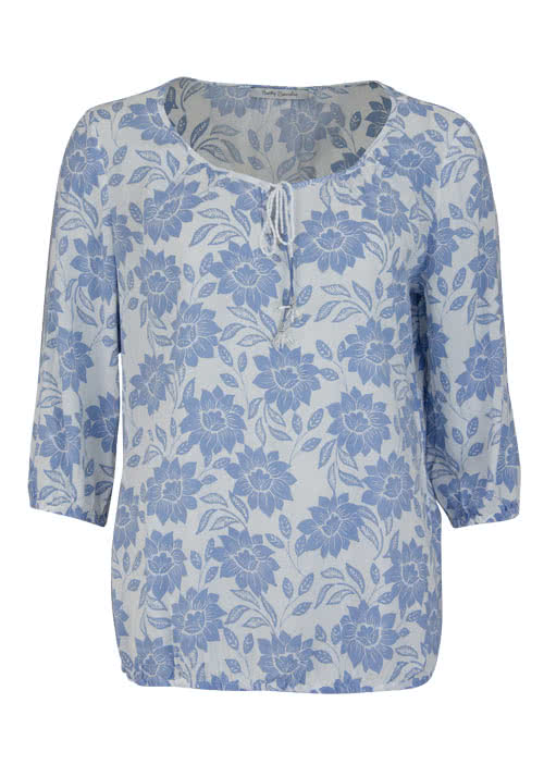 BETTY BARCLAY 3/4 Arm Blusenshirt Rundhals Allover Druck blau/weiß
