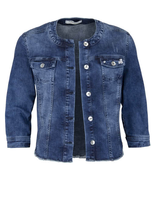 BETTY BARCLAY 3/4 Arm Jeansjacke Rundhals geknöfpt Used dunkelblau