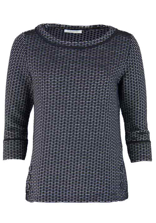 BETTY BARCLAY 3/4 Arm Pullover Rundhals Webstruktur Muster schwarz
