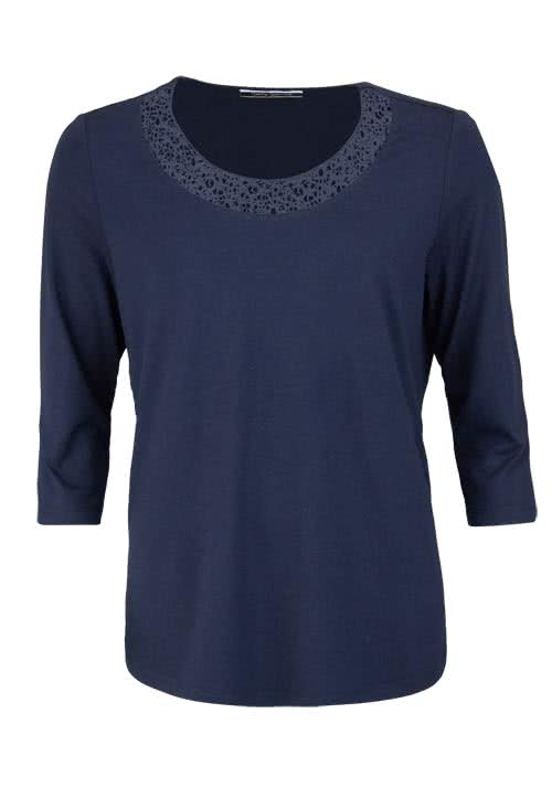 BETTY BARCLAY 3/4 Arm Shirt Rundhals Häkelspitze midnight