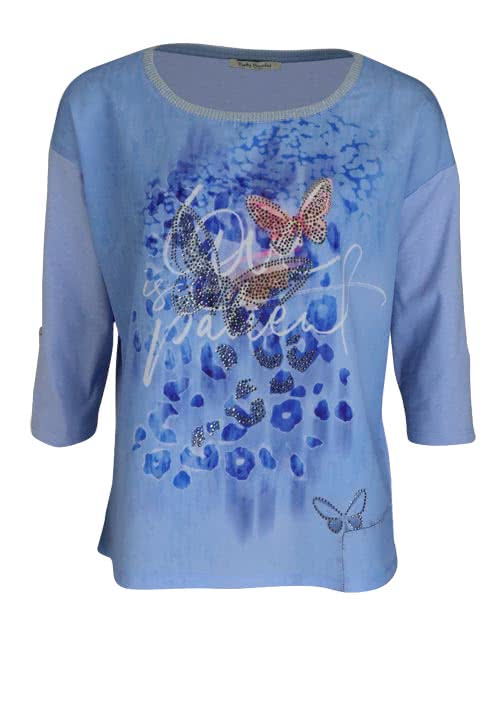 BETTY BARCLAY 3/4 Arm Shirt Rundhals Statement-Print Strass hellblau
