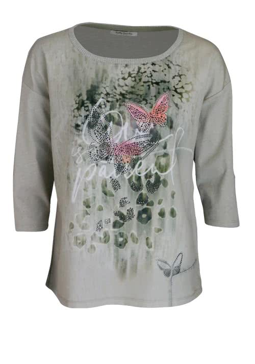 BETTY BARCLAY 3/4 Arm Shirt Rundhals Statement-Print Strass oliv