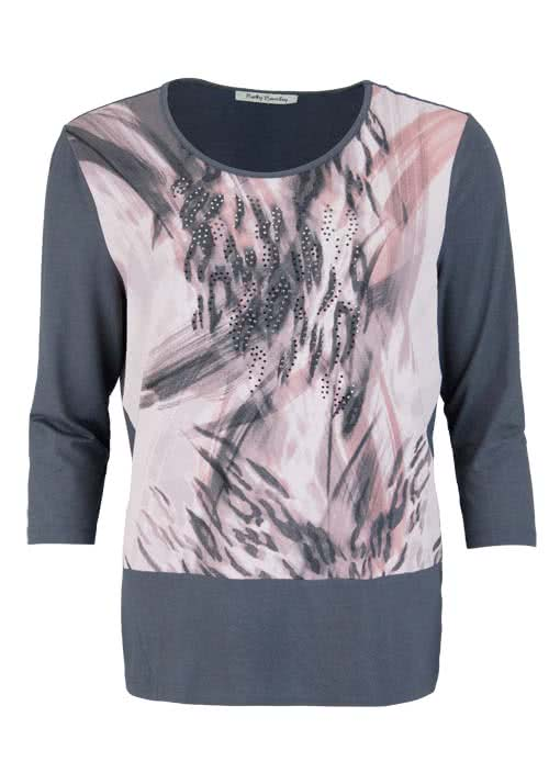 BETTY BARCLAY 3/4 Arm Shirt Rundhals Statement-Print graphit/rosa
