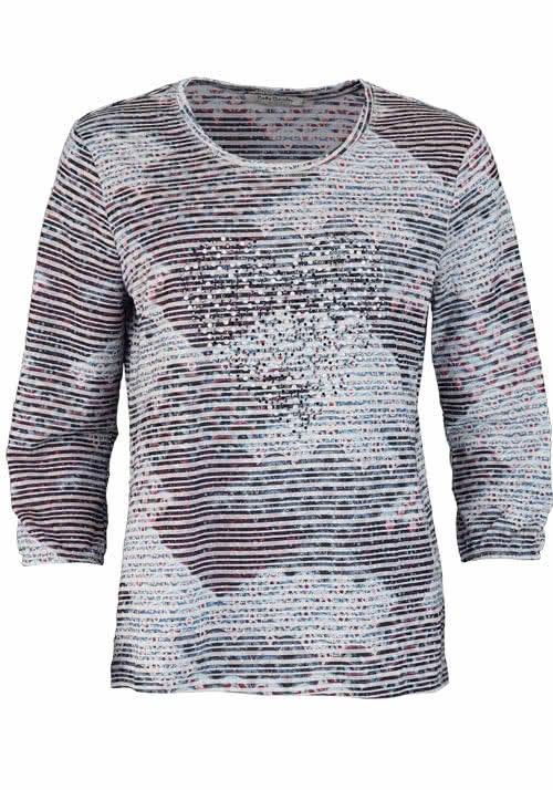 BETTY BARCLAY 3/4 Arm Shirt Rundhals Strass Nieten Ringel Multicolor