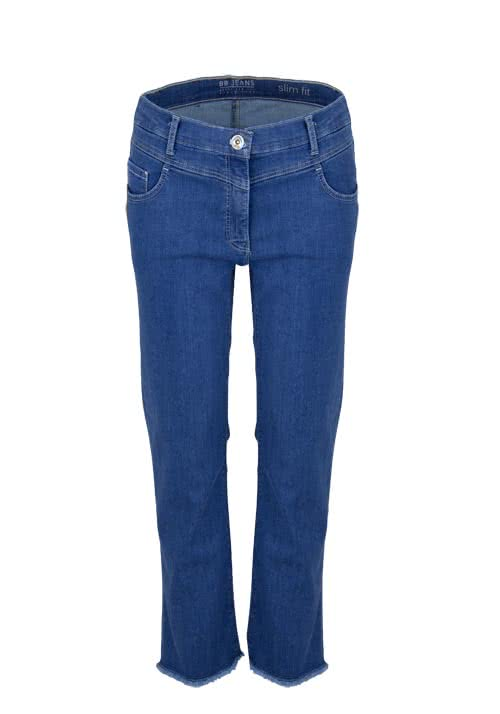 BETTY BARCLAY 7/8 Jeans Slim Fit ausgefranster Saum Stretch mittelblau