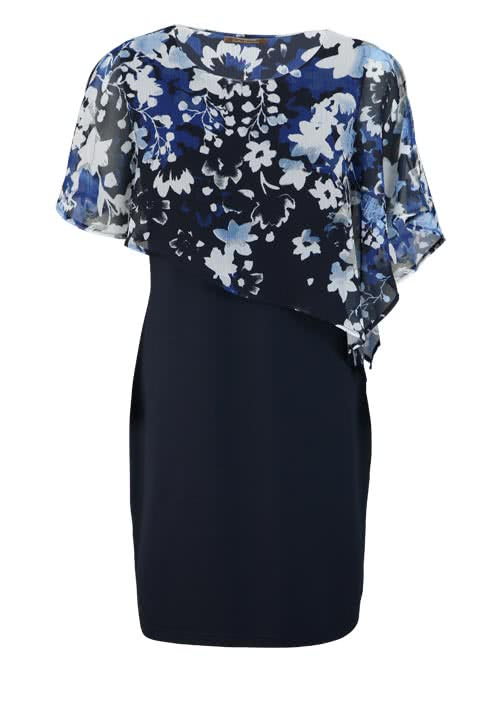 BETTY BARCLAY Cut-Out Kleid Rundhals Floral Druck nachtblau