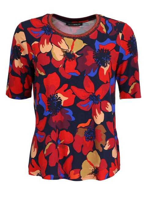 BETTY BARCLAY Halbarm Shirt Rundhals Floral Muster rot