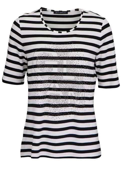 BETTY BARCLAY Halbarm T-Shirt Rundhals Strass Ringel schwarz