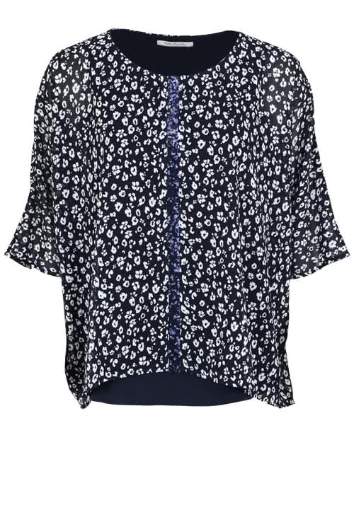 BETTY BARCLAY Kurzarm Bluse Rundhals Pailletten Allover Druck nachtblau
