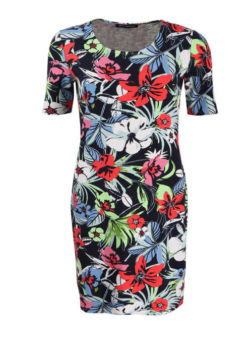 BETTY BARCLAY Kurzarm Kleid Rundhals Allover-Print blau