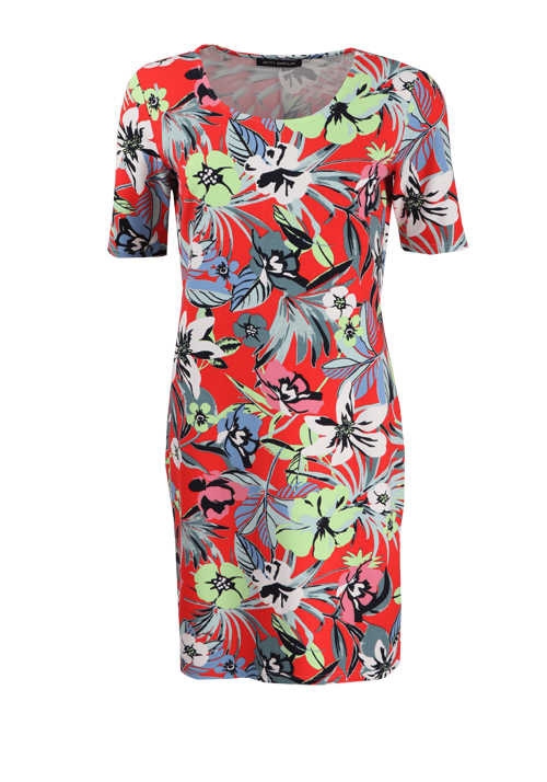 BETTY BARCLAY Kurzarm Kleid Rundhals Allover-Print rot