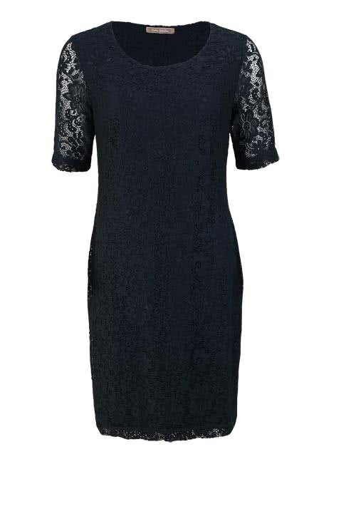 BETTY BARCLAY Kurzarm Kleid Rundhals Allover-Spitzen-Optik nachtblau