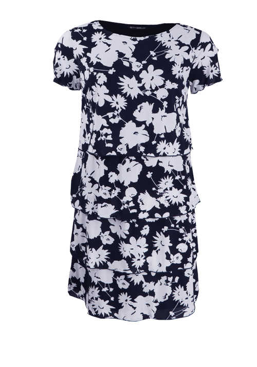 BETTY BARCLAY Kurzarm Kleid Rundhals Stufen Blumen-Print blau
